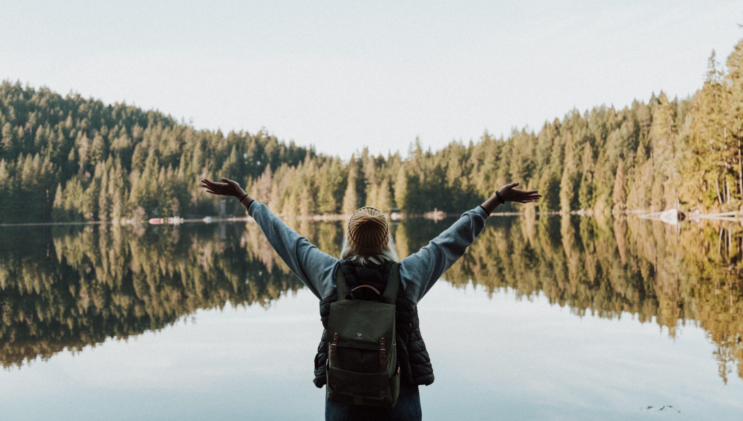 happy girl at a lake